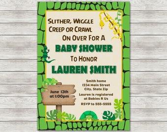 Reptile Baby Shower Invitation Invite - Printable File or Printed Invitations