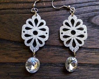 Silver Glitter Sparkly Rhinestone Dangle Stainless Steel Earrings.