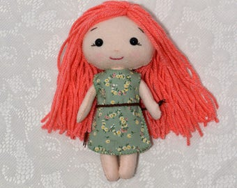 Waldorf Doll, Vintage Inspired Doll, Worry Doll, Heirloom Doll, Cotton Candy Doll, Fabric Doll, Poppet, Rag Doll, Doll With Pink Hair