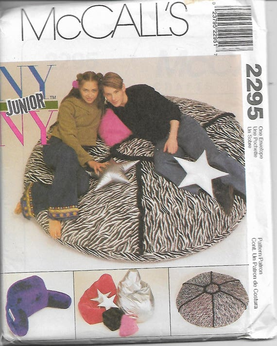 McCalls 2295 NY Junior Pillow Pack Bean Bag Chair And Cushions Sewing Pattern 1999 Uncut From LadybugsandScorpions On Etsy Studio