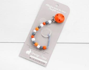 Pacifier clip, beaded pacifier clip, pacifier holder, wood pacifier clip, ready to ship, baby gift, wood toy, monochrome, white grey orange