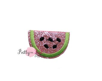 Pink Glitter Watermelon Iron On Patch Embellishment - Applique- Embellishment- DIY Headband Supply- applique - patch - Embroidered Patches