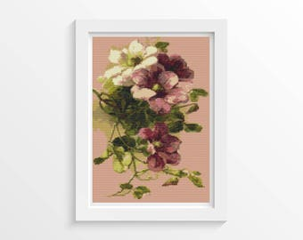 Floral Cross Stitch Chart, Clematis Cross Stitch Pattern PDF, Art Cross Stitch, Catherine Klein, Embroidery Chart (KLEIN05)