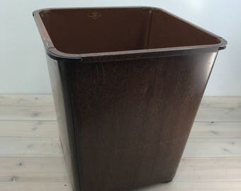 Industrial Wastebasket, Can, Trashcan, Trash, Metal, Lawson, Wood Simulated Metal