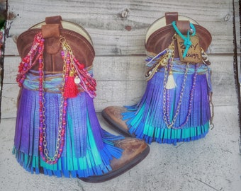 Boho Boots,Gyspy Boots, Fringe Boots, Handmade Boots, Size 12 little girl