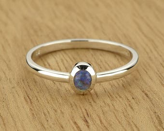 0.16ct Semi-Black Opal Ring in 925 Sterling Silver Size 8.5 SKU: 1979B034-925