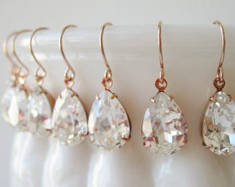 Bridesmaid Earrings set of 7 Crystal Rose Gold Plated Teardrop Earrings Bridesmaid Jewelry Vintage Style Wedding Bridal Earrings Nickel Free
