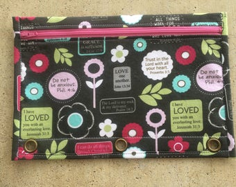 Bible verse pencil case with pink zipper and pink lining