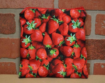 One Sandwich Bag, Reusable Lunch Bags, Waste-Free Lunch, Machine Washable, Strawberries, Sandwich Sacks, item #SS76