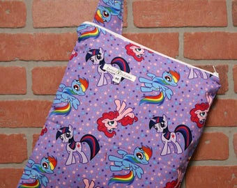 Cloth Diaper Wetbag, My Little Pony, Diaper Pail Liner, Diaper Bag, Day Care Size, Holds 5 Diapers, Size Medium with Handle item #M79