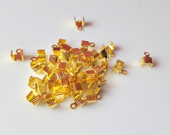 50 end caps lace in brass gilded with gold end 7 5x5mm