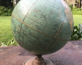 "Vintage Cram's Universal Terrestrial Globe 101/2"" Made by the George F. Cram Co. Indianapolis, Indiana"