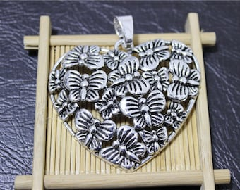 1 antique silver Butterfly heart pendant charm