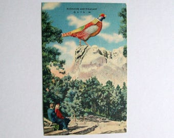 Mount Rushmore with a pheasant.  Vintage 1947 linen finish postcard.