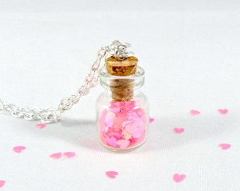 ON SALE Fairy Glitter Hearts In A Bottle Necklace, Captive Hearts, Silver Plated Necklace, Cute, Kawaii :D