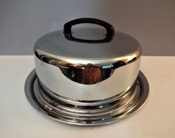 Shiny Chrome Cake Carrier - Everedy Kake-Toter - Vintage Cake Taker - Mid Century Lidded Platter - Cake Plate with Dome Lid
