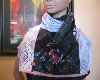 """scarf/shawl is hand - lace and fabric - """"josefia"""""""