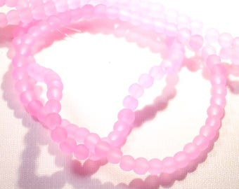 Pink 25 frosted round beads 4 mm