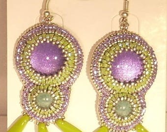Embroidered on purple glitter cabochon and iridescent turquoise cabochon earrings