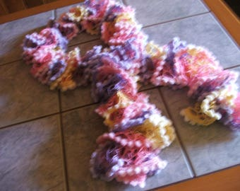 NEW model - Ruffle scarf lilac/yellow/pink edge small tassels