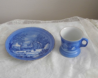 Currier and Ives Mug and Plate