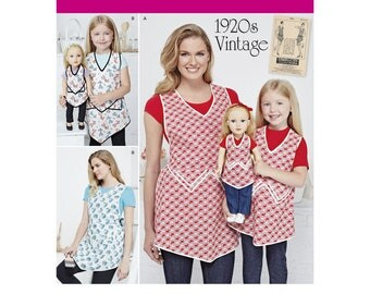 1920's VINTAGE STYLE APRONS Pattern for Adults, Child and 18 inch Doll by Simplicity J0204 & 8038
