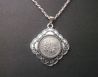 British Sixpence Coin Necklace -  British SixPence Coin Pendant in Pendant Tray- 1958 British Six Pence Coin Necklace