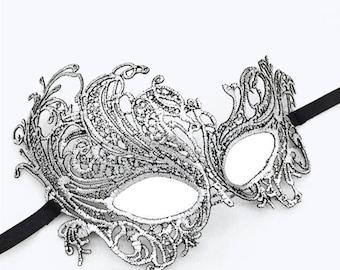 Venetian Silver Lace Face Mask, Halloween Carnival Women Costume Masquerade Mask