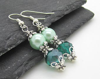 Teal Green Crystal Earrings, Teal Bridesmaid Jewellery Sets, Matching Bridal Jewellery, Mint Wedding Sets, Bridesmaid Gift Idea, Bridal Gift