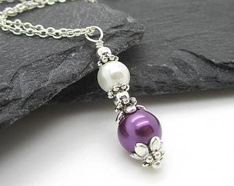 Purple and Ivory Pearl Pendant, Eggplant Bridesmaid Jewellery, Dark Purple Bridal Sets, Simple Pearl Drop Pendant, Bridal Party Gifts