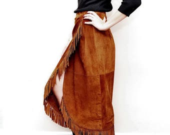 Full Length Suede Skirt with Fringe - Southwestern Leather Skirt - Tristan and Iseult - Brown Cowgirl Skirt - High Fashion - 1990s Vintage