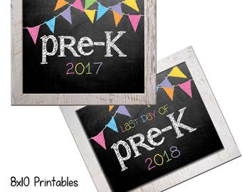 Pre-K First Day Back to School (Bonus Last Day, too!) Photo Props. Print this fall & spring. Printable 8x10 Kids Instant Download.