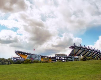 Pittsburgh Football Stadium Photo, color photograph, green, blue, yellow, fine photography prints, Steel Fortress