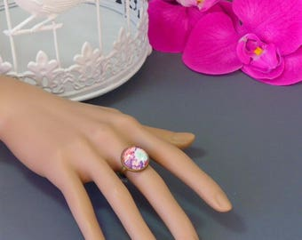 Fancy ring * Floralys * Cabochon 16 mm * fuchsia, blue and purple pattern