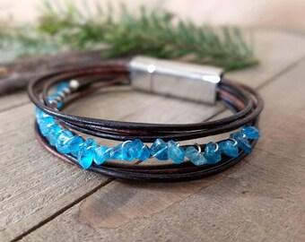 Apatite stone bracelet -  Apatite bracelet - Apatite jewelry - leather stone bracelet - blue apatite gifts - neon blue apatite - apatite