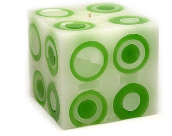 Cosmic Candles Green Super Ball Square Pillar Unscented 4x4