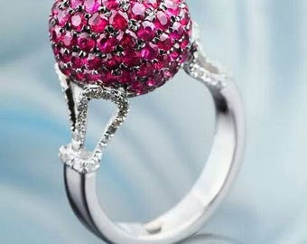Ruby Ring, Ruby and Diamond ring, Red stone ring, red ruby, ball ring, white gold, 14K gold, set with 2.8ct natural Ruby and 0.60ct diamonds