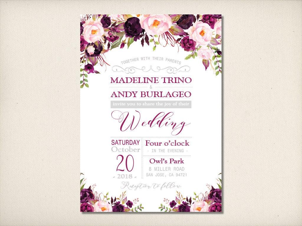 Wedding Invitation, Floral Purple Silver Wedding Invitation, Plum ...