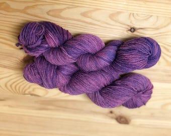dyed Purple-hand dyed yarn-Purple Yarn- Fingering Weight yarn-Hand Dyed Sock-Sock Yarn Dyed-Purple Sock-Variegated Yarn-Purple dyed- Indie
