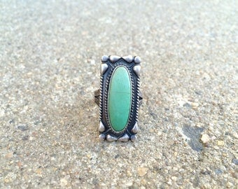 vintage Native American sterling silver turquoise southwestern ring size 7.25