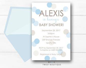 BABY SHOWER Invitation, Printable Baby Shower Invitation, Boy Baby Invitation, Polka Dot Invitation, Blue Spots Baby Shower Invitation