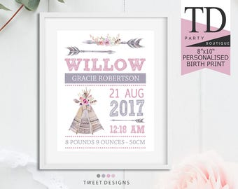 TRIBAL BIRTH PRINT, Birth Print Girl, Baby Kepsake, Tribal Nursery Print, Birth Details Print Girl, Teepee Birth Print, Boho Birth Print