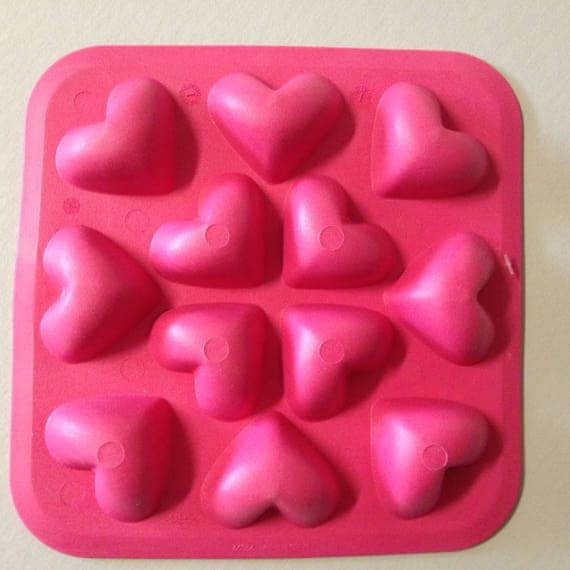 12 heart mold 3d food safe silicon push mold for resin for 3d printer cake decoration