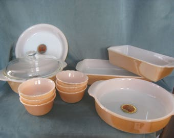 Vintage 1950s New from Old Stock Anchor Hocking Fire King Copper Tint 12 piece Ovenware Set No Box
