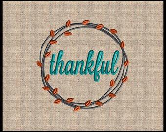 Fall Thankful wreath Embroidery Design Fall Wreath Embroidery DesignThankful Embroidery Design Fall Embroidery Design 4x4 up to 8x8
