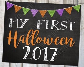 MY FIRST HALLOWEEN 2017, Chalkboard 1st Halloween, Baby's 1st Board, Baby's First Halloween, Printable Halloween Chalkboard, Instant