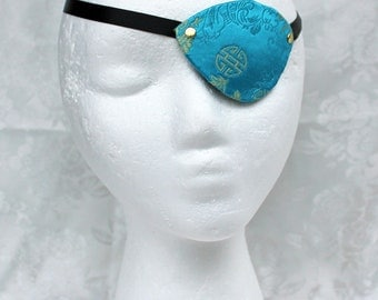 Blue Brocade Eye Patch, Turquoise Blue Satin Brocade Pirate Eye Patch