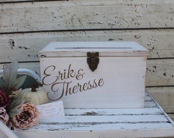 White Rustic Wedding Card Box, Custom Rustic Wedding card box, Wedding Card box, Dark Stained Wedding card Box, Barn Wedding Decor, card box