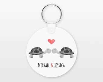 Turtle Keychain, Couple Keychain Personalized Keychain, Boyfriend Keychain Girlfriend Keychain, Couple Key Chain, Animal Keychain, Keyring