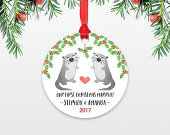 Otter Couple First Christmas Ornament Personalized, Our First Christmas Married, 1st First Christmas Engaged, First Christmas Together